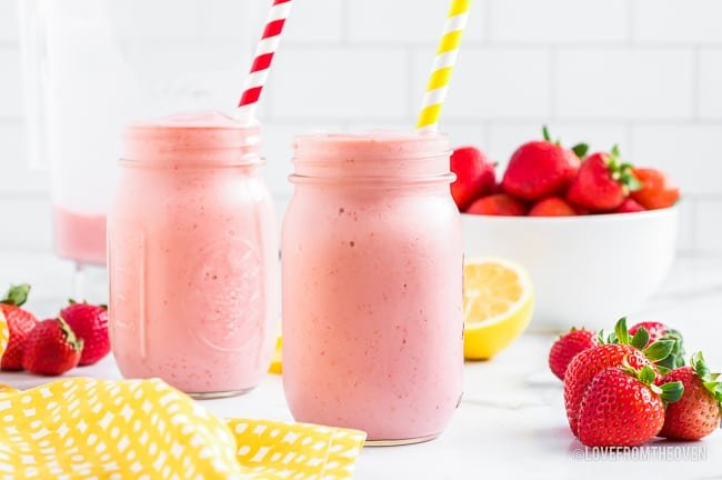 Two frozen strawberry smoothies