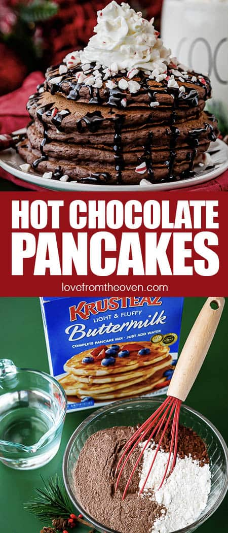 hot chocolate pancakes and ingredients