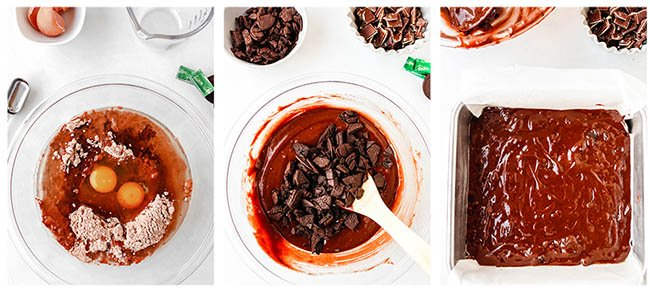 step by step photos to make mint brownies