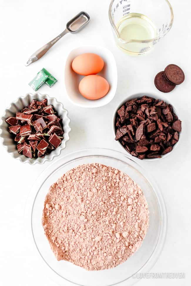 Photo of ingredients to make mint brownies