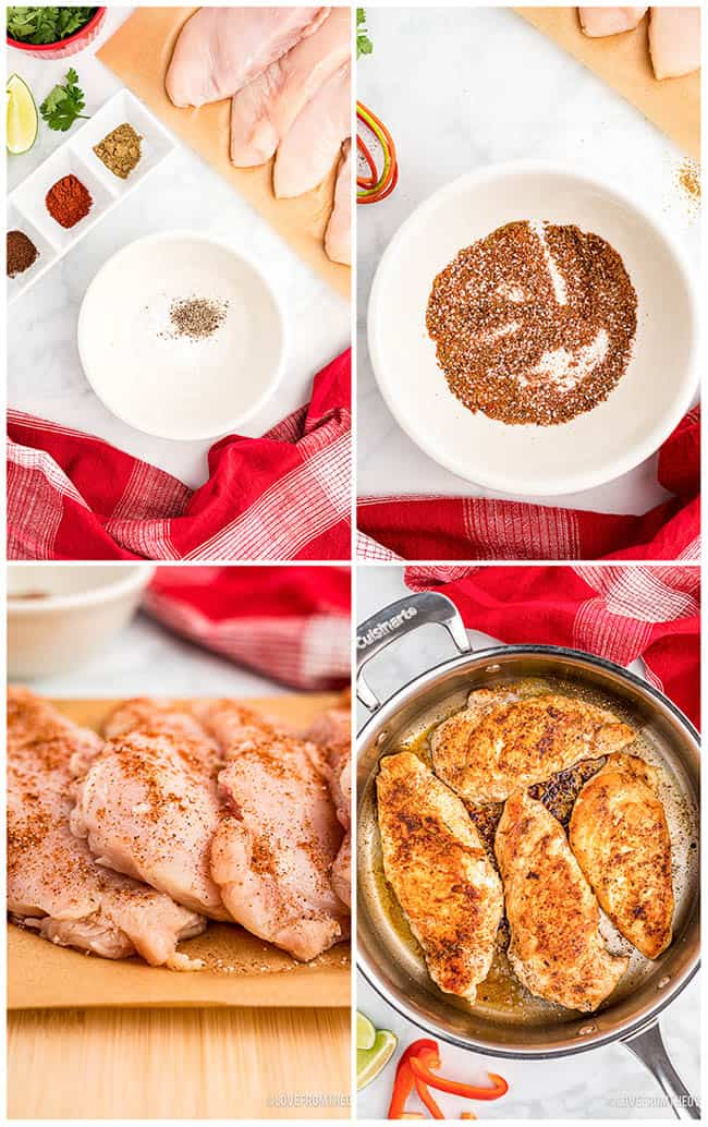 photos of chicken and rice being prepared