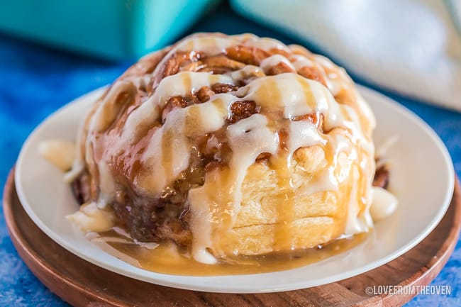 close up photo of a homemade cinnamon roll