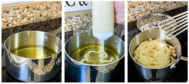 pouring funnel cake batter into oil