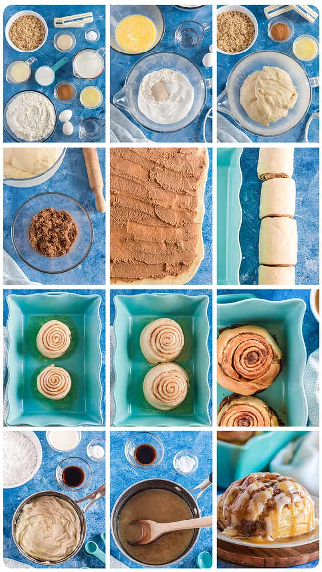 step by step photos of how to make giant cinnamon rolls