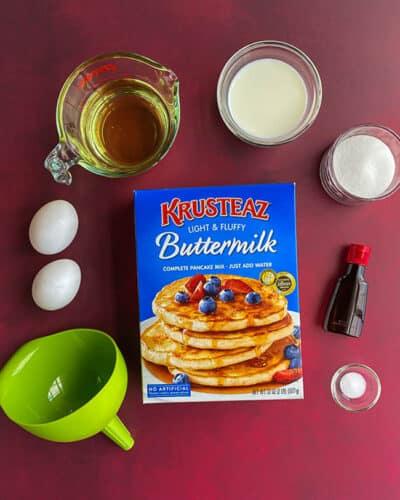 box of krusteax pancake mix and ingredients