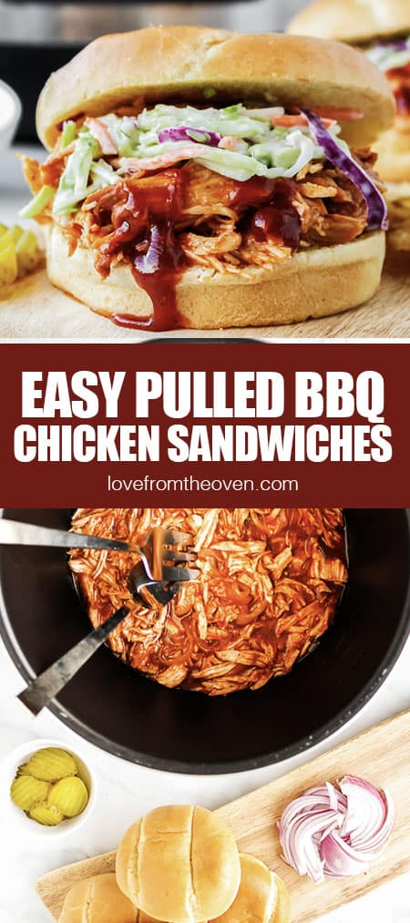 BBQ chicken being made in a crockpot and used in a sandwich