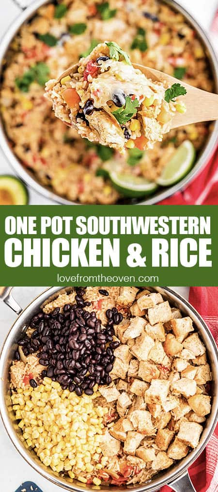 Southwestern chicken and rice in a skillet