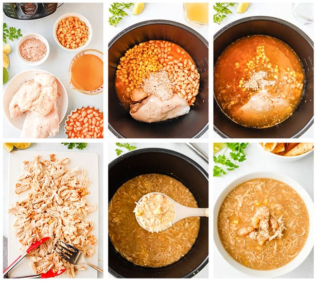 Step by step photos showing how to make white chicken chili