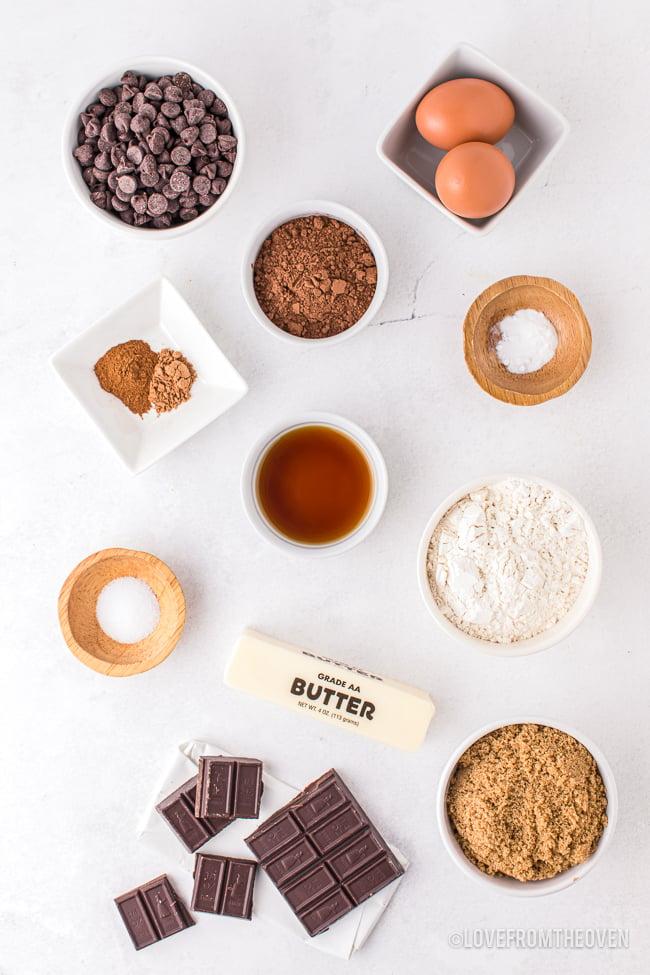 ingredients for brownie cookies