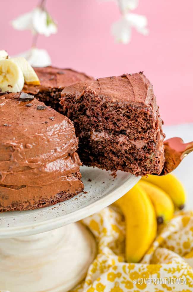 a chocolate banana cake being served