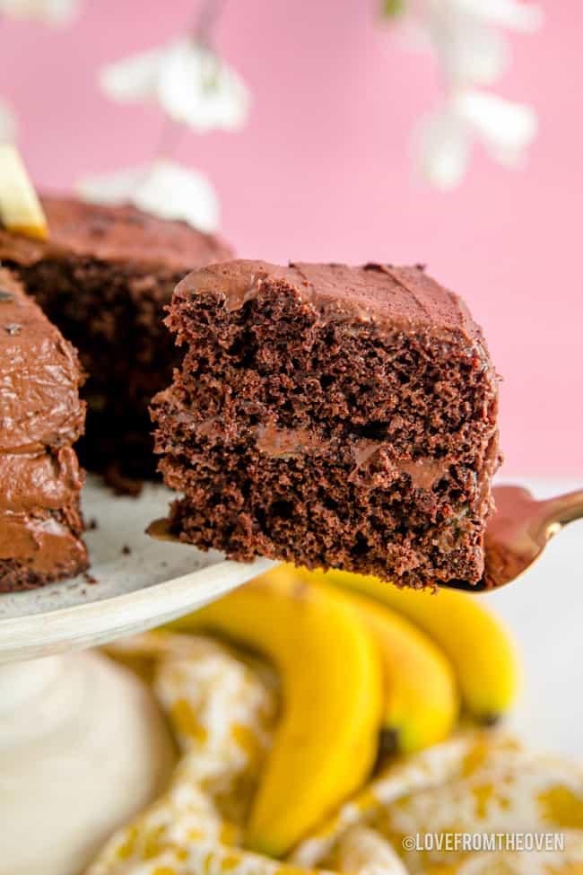 A slice of chocolate banana cake
