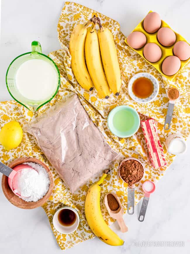 ingredients for chocolate banana cake