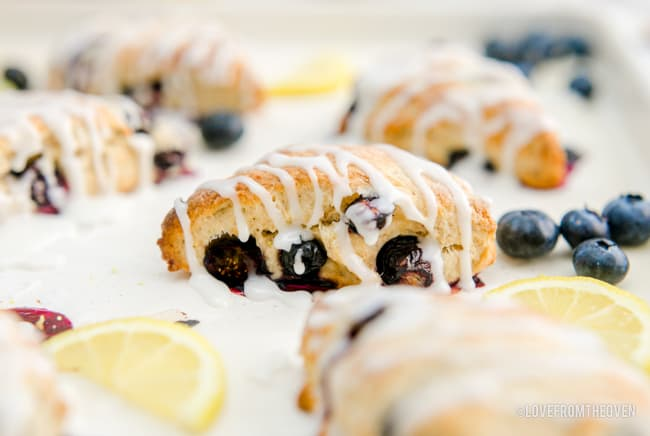 blueberry scones on a sheet