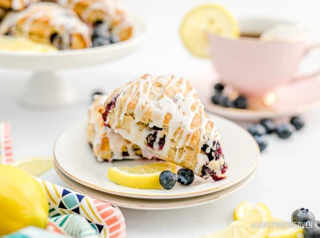 lemon blueberry scones on a plate