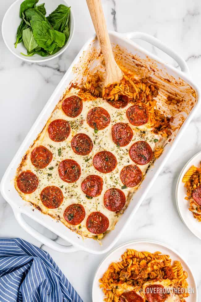 overhead shot of a pizza casserole