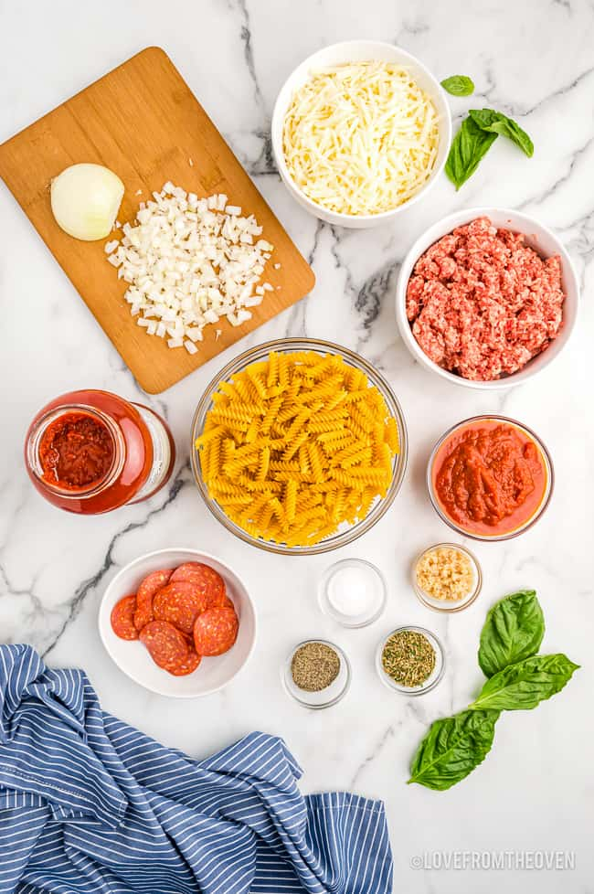 Overhead shot of ingredients to make pizza pasta