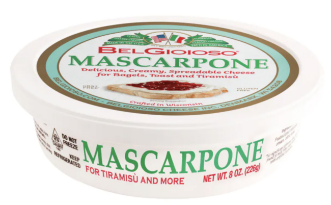 a container of mascarpone cheese