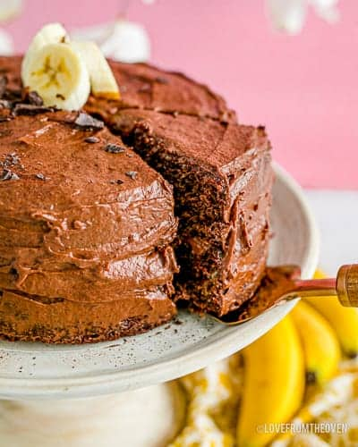 a close up of a chocolate banana cake