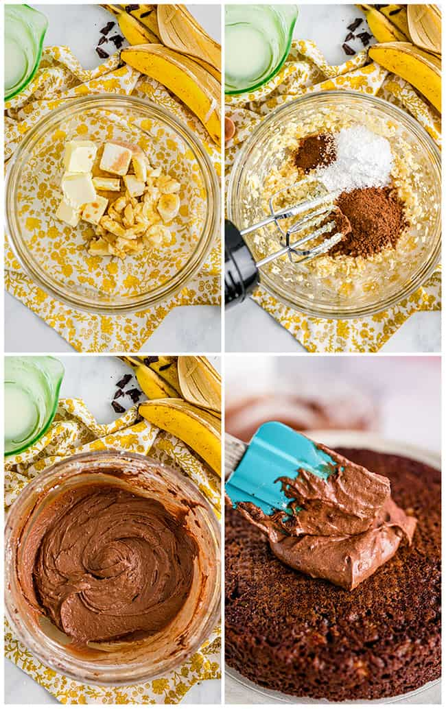 step by step photos showing how to make banana frosting