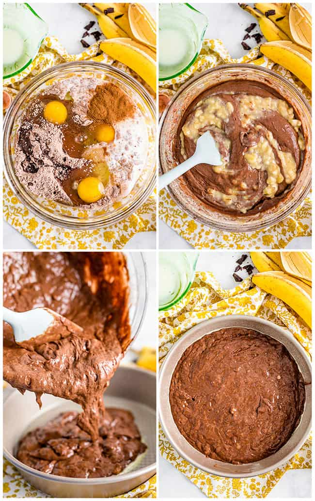 step by step photos showing how to make banana cake