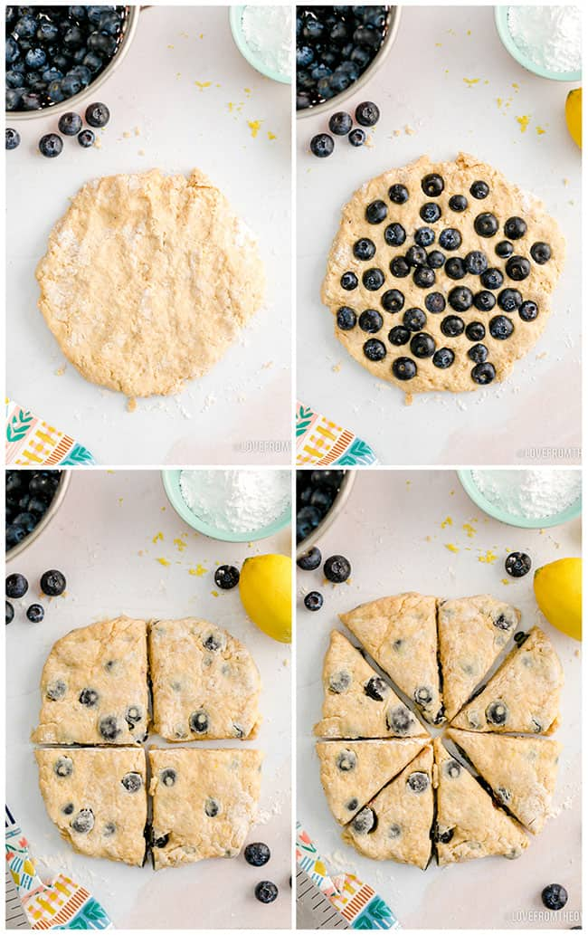 photos showing how to make blueberry scones