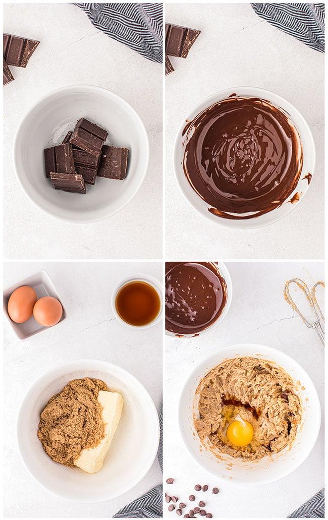 step by step photos to make chocolate brownie cookies