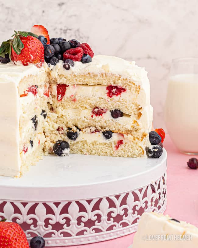Chantilly cake with slices cut out