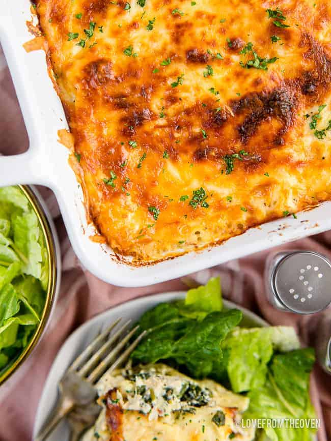 overhead shot of chicken lasagna and a salad