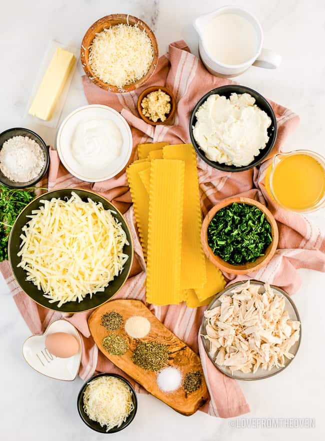 Ingredients for chicken lasagna