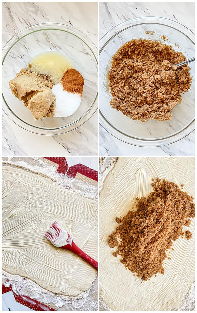 step by step photos making cinnamon roll filling