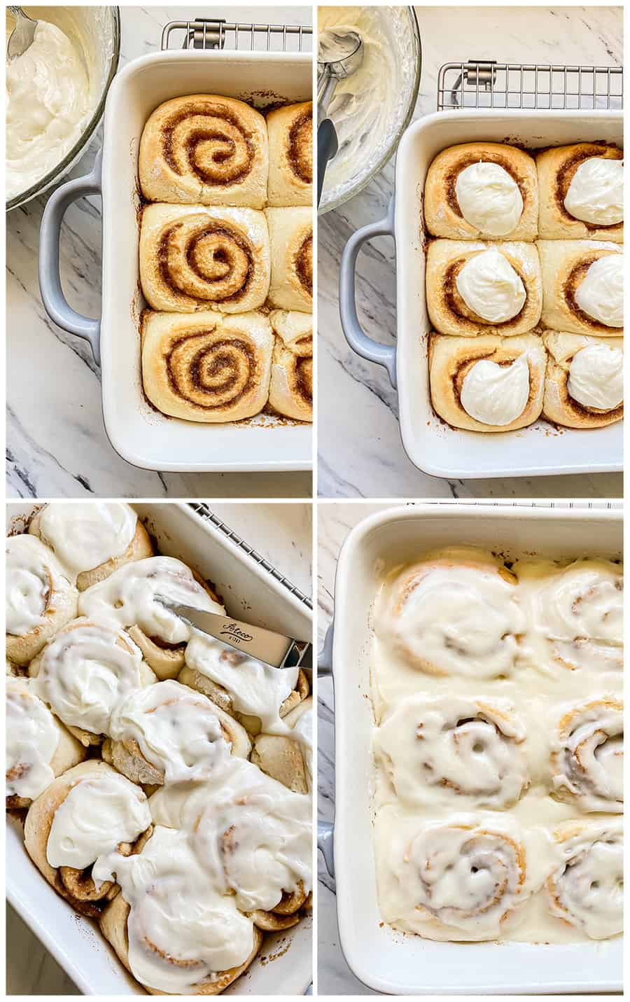 step by step photos of putting icing on cinnamon rolls