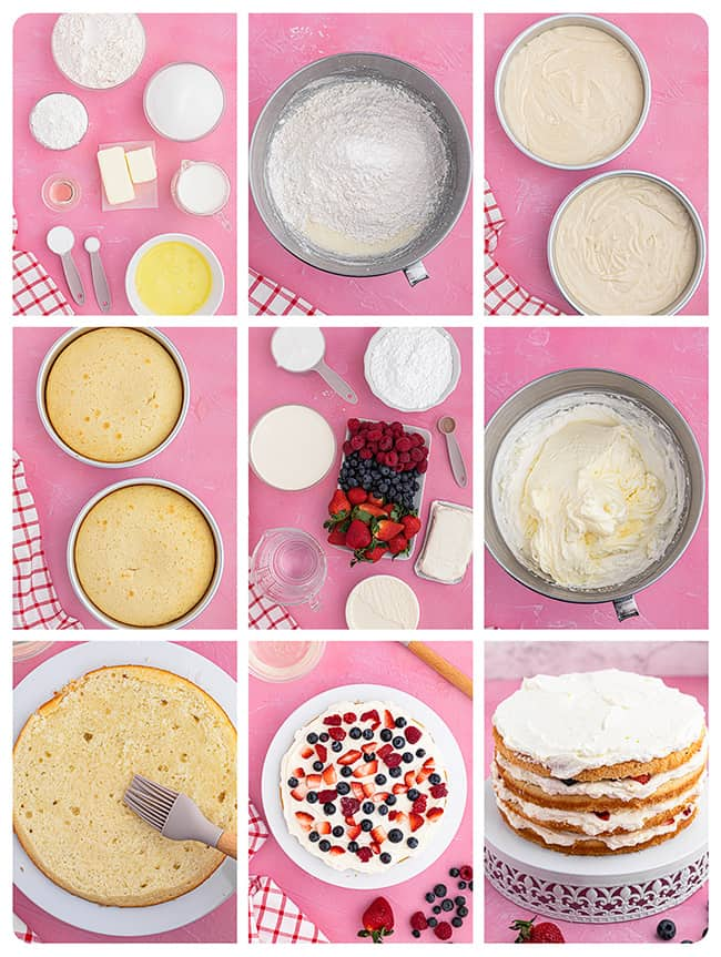 images of the steps to make chantilly cake