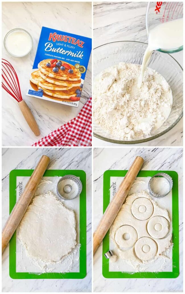 step by step photos of how to make donuts with pancake mix