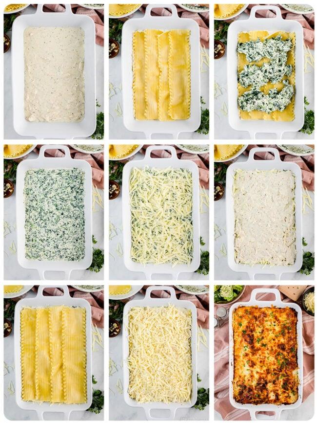 step by step photos to make white lasagna