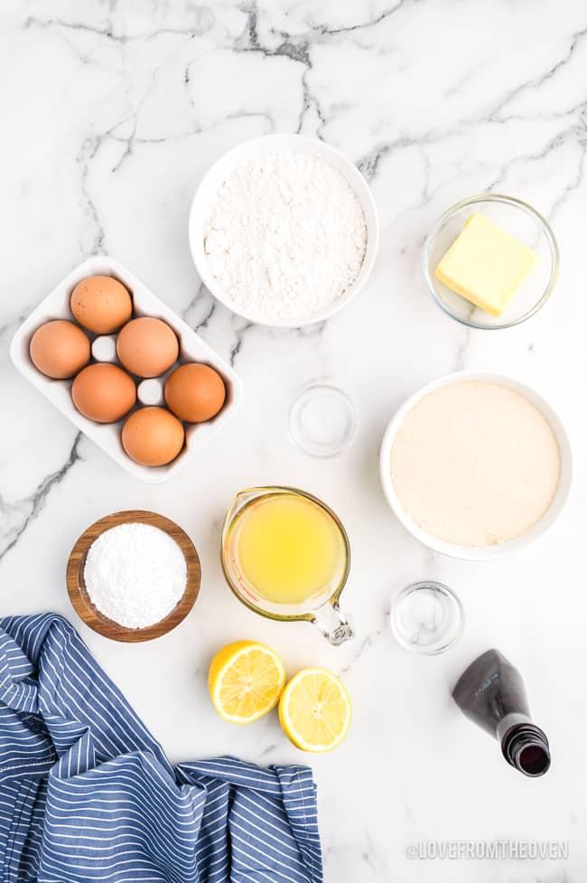 ingredients to make lemon bars