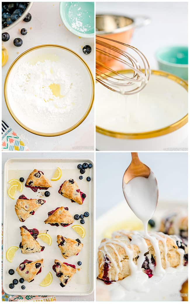 photos showing how to put lemon glaze on blueberry scones