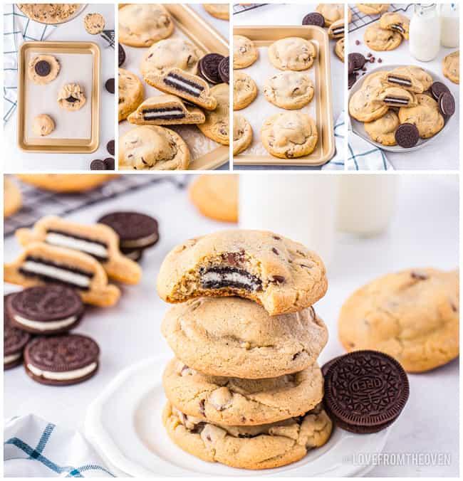 Multiple photos of oreo stuffed cookies