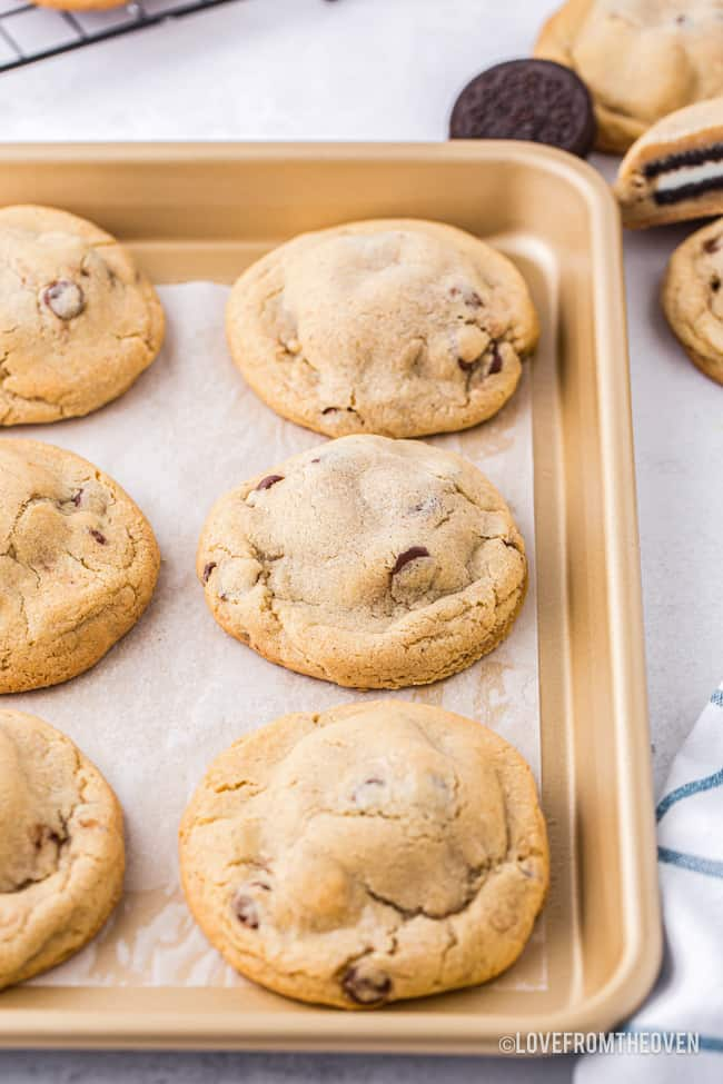 A tray of chocolate chip stuffed cookies