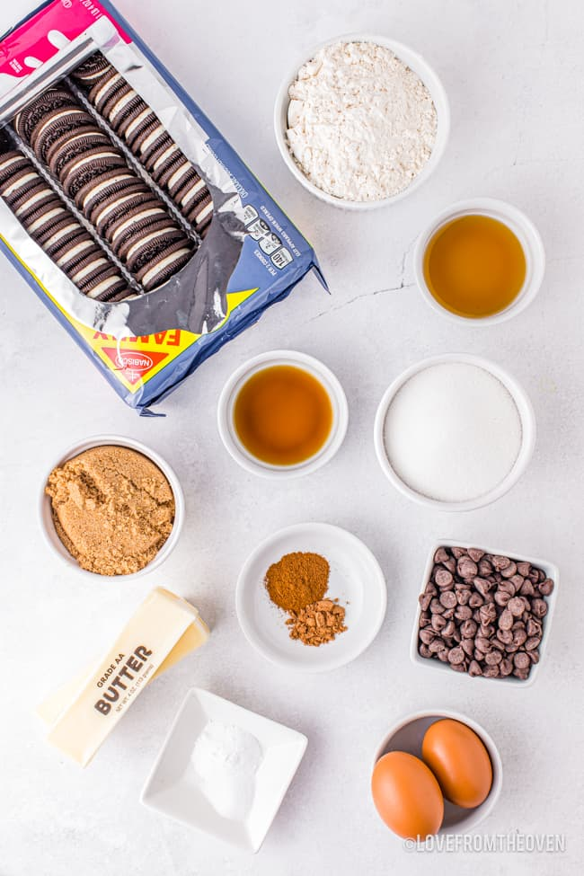 Ingredients for chocolate chip oreo cookies