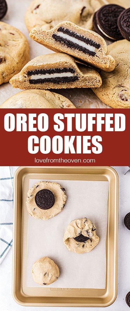 Oreos stuffed inside chocolate chip cookies