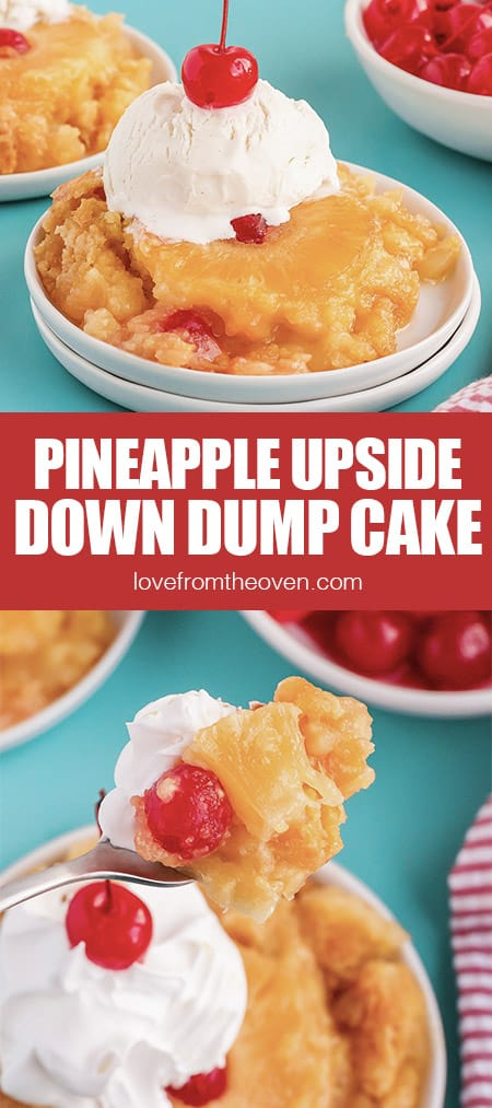 photos of pineapple upside down cake topped with ice cream