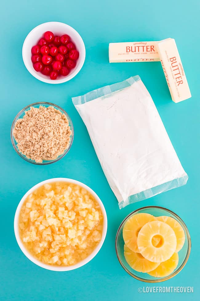 ingredients for pineapple upside down cake