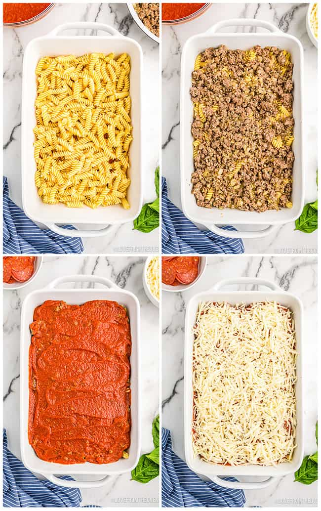 step by step photos making a pizza casserole