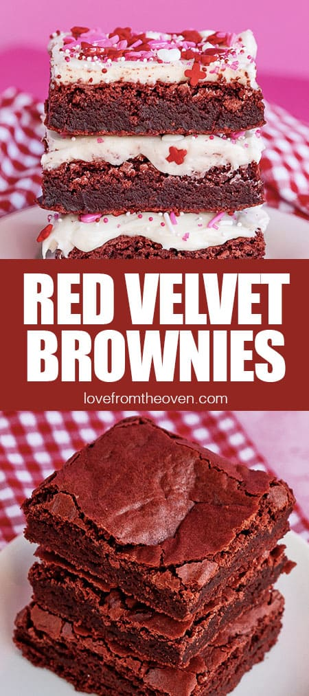 stacks of red velvet brownies some with frosting some without