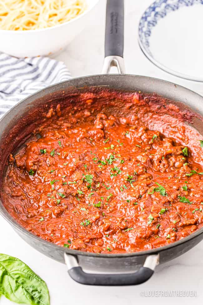 A pan of spaghetti with meat sauce