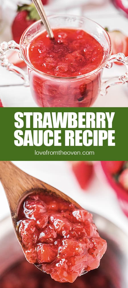 Photos of strawberry sauce in a bowl and on a spoon