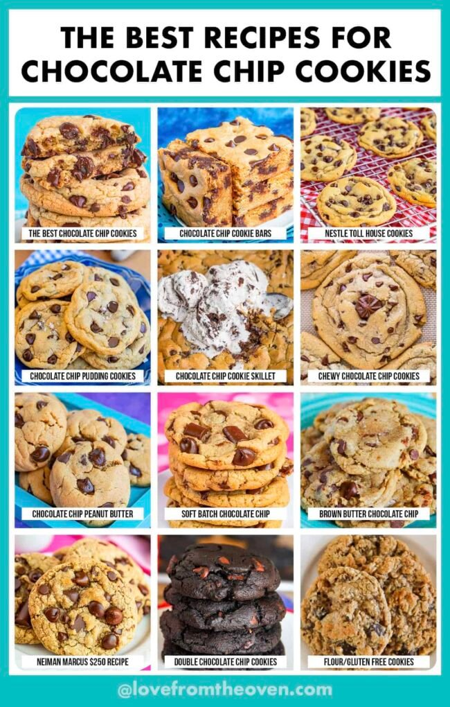 photos of different chocolate chip cookie recipes