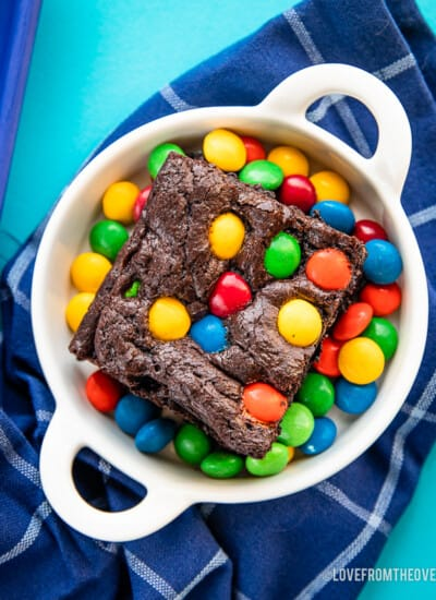 An overhead photo of M&Ms brownies