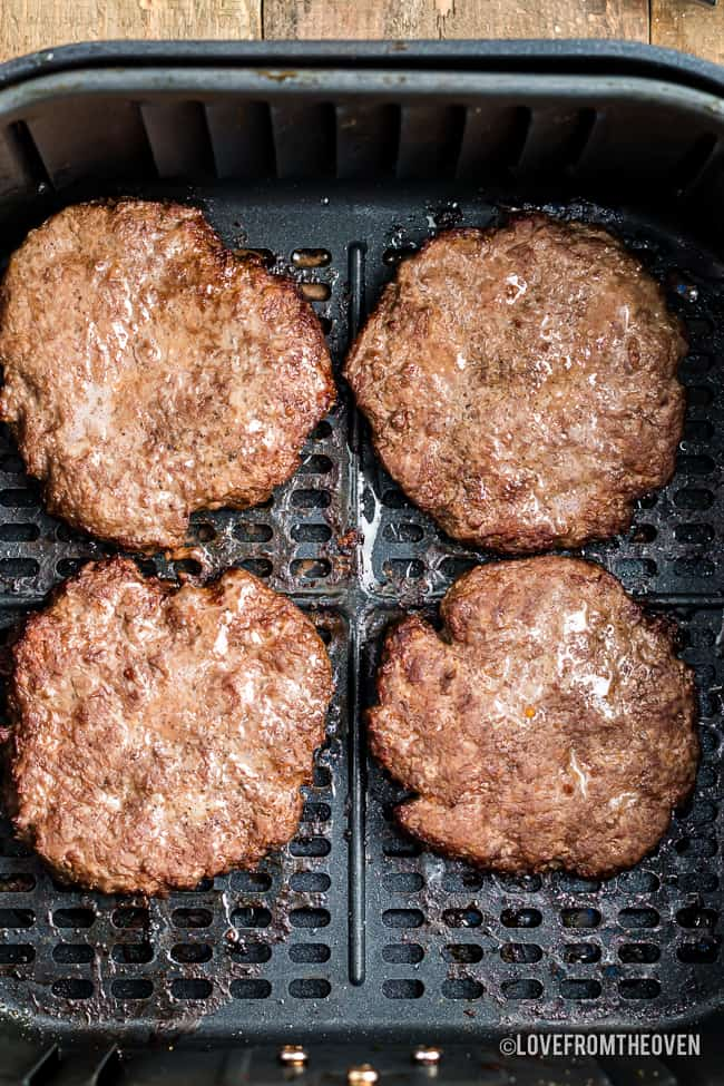 hamburger patties in an air fryer