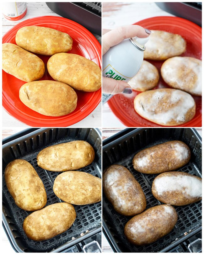 step by step photos showing how to make baked potatoes in an air fryer